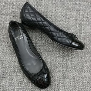 Stuart Weitzman Quilted Leather Bow Toe Flats 5.5M